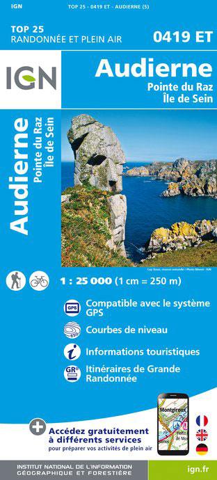 0419ET Pointe du Raz, Audierne | wandelkaart 1:25.000 9782758533658  IGN TOP 25  Wandelkaarten Bretagne