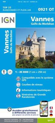 0921OT Vannes, Locqmariaquer | wandelkaart 1:25.000 9782758533696  IGN TOP 25  Wandelkaarten Bretagne