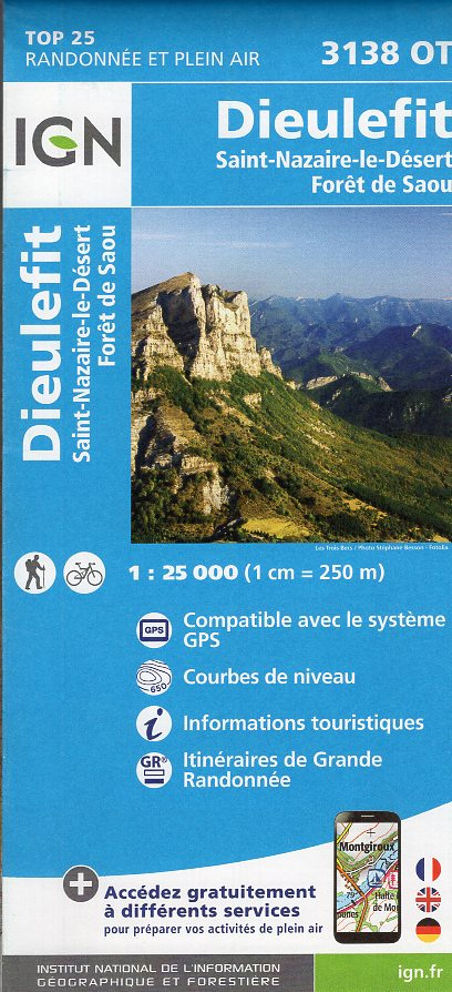 3138OT  Bourdeaux, la Motte-Chalancon | wandelkaart 1:25.000 9782758535065  IGN TOP 25  Wandelkaarten Drôme, Vercors
