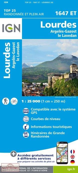 1647ET Lourdes,Argelès-Gazost, Arrens   wandelkaart 1:25.000 9782758535911  IGN TOP 25  Wandelkaarten Franse Pyreneeën, Toulouse, Gers, Garonne