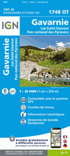 1748OT Gavarnie, Cauterets   wandelkaart 1:25.000 9782758535928  IGN TOP 25  Wandelkaarten Franse Pyreneeën, Toulouse, Gers, Garonne