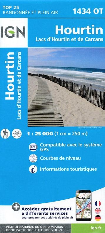 1434OT Lac d'Hourtin et de Carcans | wandelkaart 1:25.000 9782758536925  IGN TOP 25  Wandelkaarten Aquitaine, Bordeaux