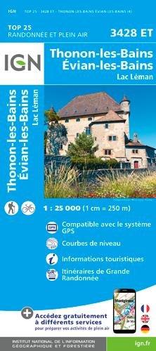 3428ET  Thonon, Evian | wandelkaart 1:25.000 9782758539971  IGN TOP 25  Wandelkaarten Haute Savoie, Mont Blanc