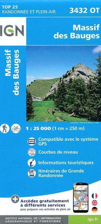 3432OT   Massif des Bauges | wandelkaart 1:25.000 9782758540021  IGN TOP 25  Wandelkaarten Haute Savoie, Mont Blanc