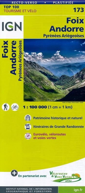 SV-173  St.Gaudens/Andorre | omgevingskaart / fietskaart 1:100.000 9782758540892  IGN Série Verte 1:100.000  Fietskaarten, Landkaarten en wegenkaarten Franse Pyreneeën, Toulouse, Gers, Garonne