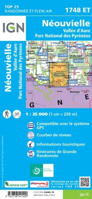 1748ET Néouvielle, Vallée d'Aure   wandelkaart 1:25.000 9782758541400  IGN TOP 25  Wandelkaarten Franse Pyreneeën, Toulouse, Gers, Garonne