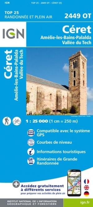 2449OT Céret, Amélie-les-Bains-Palalda | wandelkaart 1:25.000 9782758543046  IGN TOP 25  Wandelkaarten Franse Pyreneeën, Toulouse, Gers, Garonne