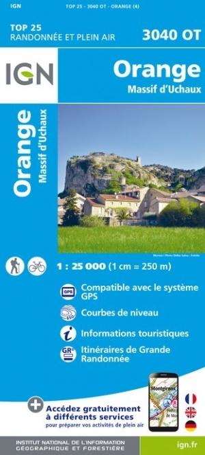 3040OT Orange,Massif d'Uchaux, Bollène | wandelkaart 1:25.000 9782758543220  IGN Wandelkaarten Provence  Wandelkaarten, Wijnreisgidsen Provence, Vaucluse, Luberon