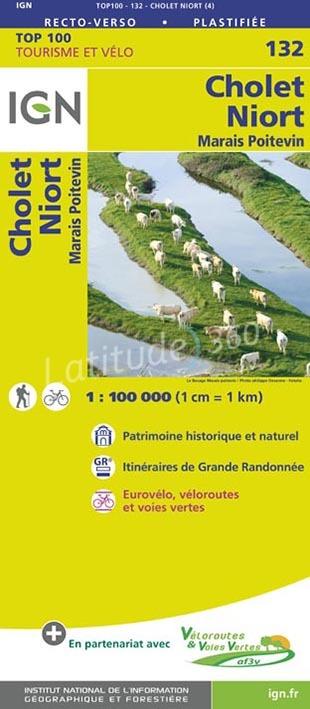 SV-132  Cholet/Niort | omgevingskaart / fietskaart 1:100.000 9782758543725  IGN Série Verte 1:100.000  Fietskaarten, Landkaarten en wegenkaarten Midden-Frankrijk en Atlantische Kust