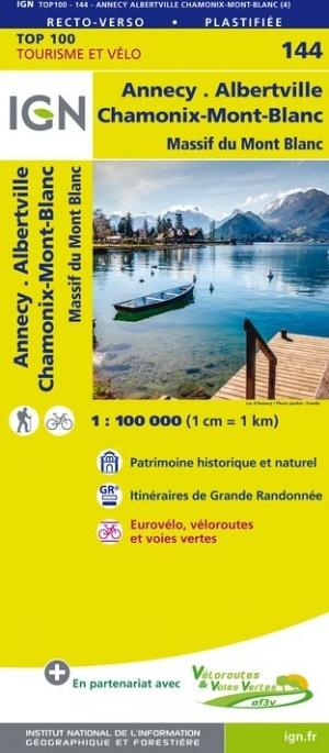 SV-144  Annecy, Thonon-les-Bains | omgevingskaart / fietskaart 1:100.000 9782758543770  IGN Série Verte 1:100.000  Fietskaarten, Landkaarten en wegenkaarten Haute Savoie, Mont Blanc