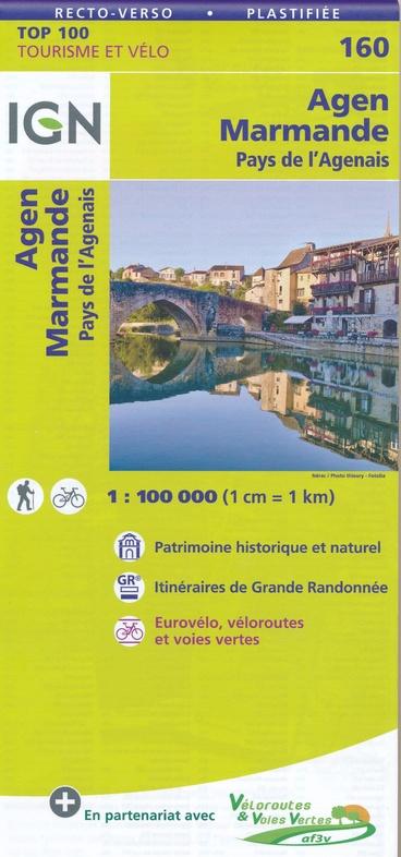 SV-160  Marmande/Agen   omgevingskaart / fietskaart 1:100.000 9782758543817  IGN Série Verte 1:100.000  Fietskaarten, Landkaarten en wegenkaarten Dordogne, Lot, Tarn