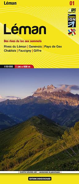 LB-01  Rives du Léman | wandelkaart 1:50.000 9782847990232  Libris Éditions Didier Richard  Wandelkaarten Haute Savoie, Mont Blanc
