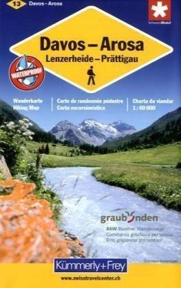 KFW-13  Davos, Arosa, Prättigau | wandelkaart / overzichtskaart 9783259008164  Kümmerly & Frey Wandelkaarten Zwitserland  Wandelkaarten Graubünden, Tessin