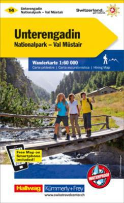 KFW-14  Unterengadin/Samnaun | wandelkaart / overzichtskaart 9783259022146  Kümmerly & Frey Wandelkaarten Zwitserland  Wandelkaarten Graubünden, Tessin