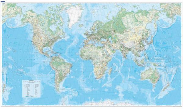 [14] Wereld Natuurkundig 1:30.000.000 papier 9783259940204  Kümmerly & Frey   Wandkaarten Wereld als geheel