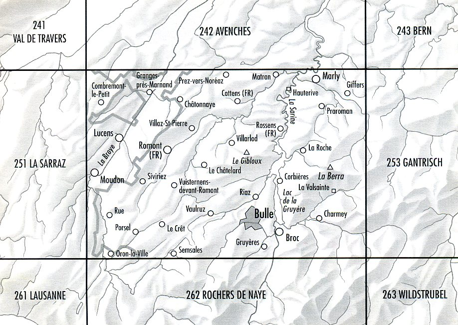 252T Bulle [2007] 9783302302522  Bundesamt SAW 1:50.000  Wandelkaarten Berner Oberland, Basel, Jura, Genève