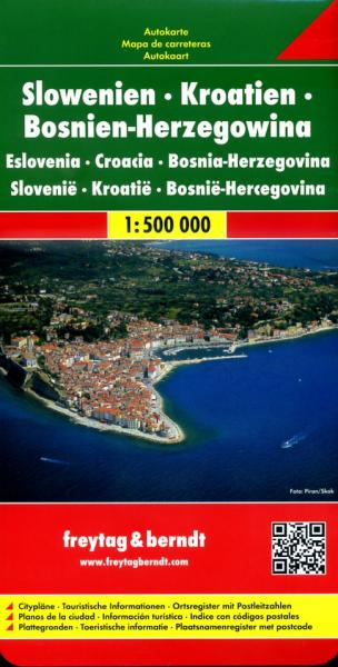 Slovenie, Kroatie, Bosnië-Hercegowina | autokaart, wegenkaart 1:500.000 9783707904307  Freytag & Berndt   Landkaarten en wegenkaarten Balkan