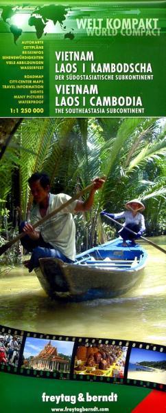 Vietnam, Laos, Cambodja | autokaart, wegenkaart 1:1.250.000 9783707913705  Freytag & Berndt   Landkaarten en wegenkaarten Indochina