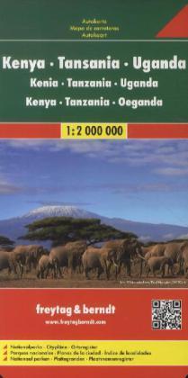 Kenia/Tanzania/Uganda | autokaart, wegenkaart 1:2m. 9783707913880  Freytag & Berndt   Landkaarten en wegenkaarten Oost-Afrika