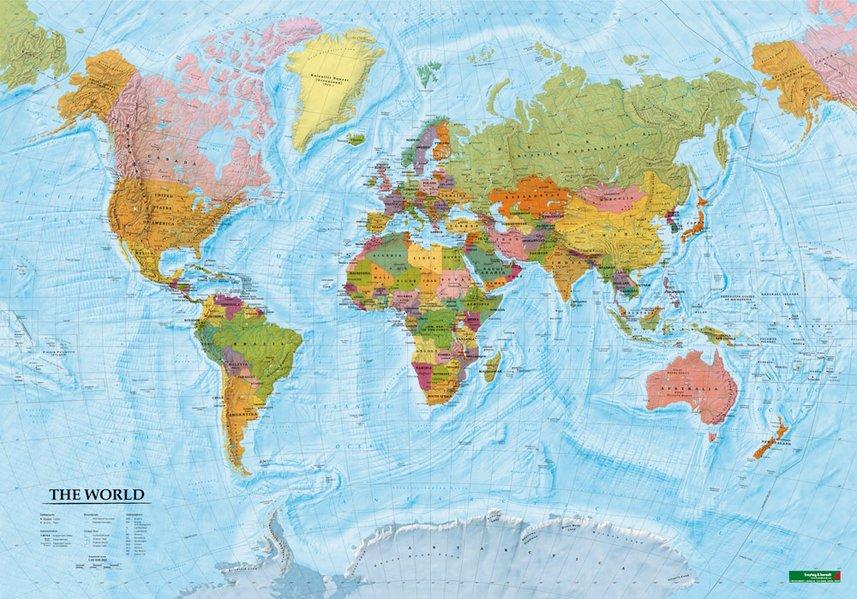 World map / Wereld 1:40.000.000 | plano, met latjes 9783707916164  Freytag & Berndt   Wandkaarten Wereld als geheel