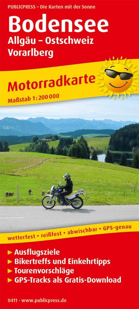 Bodensee, Allgäu - Ostschweiz - Vorarlberg 1:200.000 9783747304112  Publicpress Motorradkarten - mit der Sonne  Landkaarten en wegenkaarten, Motorsport Beierse Alpen, Tirol & Vorarlberg
