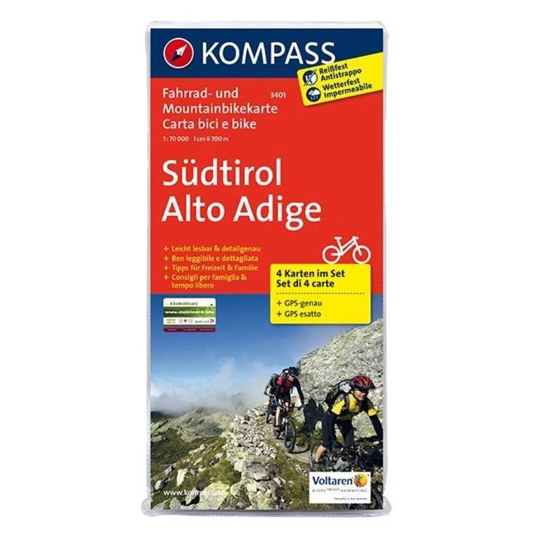 3401  Rad- und Mountainbikekarte Südtirol 9783850261456  Kompass fietskaarten Kompass Italië  Fietskaarten Zuidtirol, Dolomieten, Friuli, Venetië, Emilia-Romagna