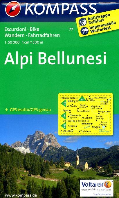 KP-77 Alpi Bellunesi 1:50.000   Kompass wandelkaart 9783850264150  Kompass Wandelkaarten Kompass Italië  Wandelkaarten Zuidtirol, Dolomieten, Friuli, Venetië, Emilia-Romagna