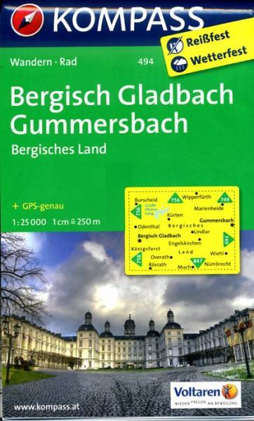 KP-494  Bergisches Land, Gummersbach 1:50.000   Kompass wandelkaart 9783850266130  Kompass Wandelkaarten Kompass Duitsland  Wandelkaarten Düsseldorf, Wuppertal & Bergisches Land