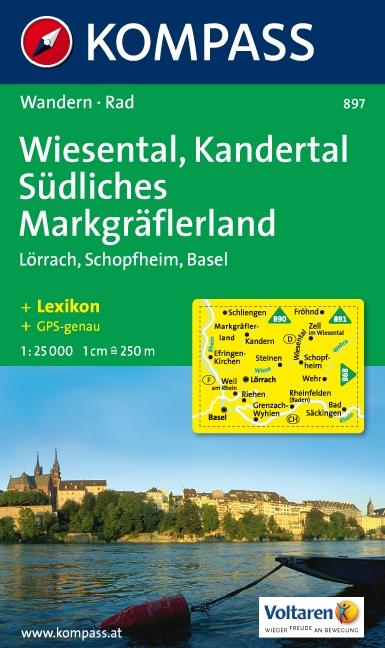 KP-897    Wiesental, Kandertal 1:25.000   Kompass 9783854912521  Kompass Wandelkaarten Kompass Duitsland  Wandelkaarten Zwarte Woud