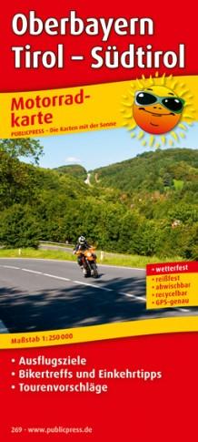 Oberbayern - Tirol - Südtirol 1:250.000 9783899202694  Publicpress Motorradkarten - mit der Sonne  Landkaarten en wegenkaarten, Motorsport Tirol & Vorarlberg, Zuidtirol, Dolomieten, Friuli, Venetië, Emilia-Romagna