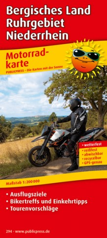 Bergisches Land - Ruhrgebiet - Niederrhein 1:200.000 9783899202946  Publicpress Motorradkarten - mit der Sonne  Landkaarten en wegenkaarten, Motorsport Düsseldorf, Wuppertal & Bergisches Land