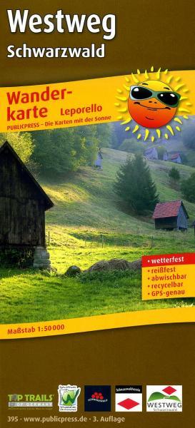 Westweg (Schwarzwald - Zwarte Woud) 9783899203950  Publicpress Wandelkaarten - mit der Sonne  Lopen naar Rome, Wandelkaarten Zwarte Woud