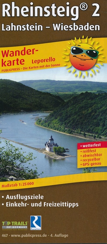Wanderkarte Rheinsteig 2, Lahnstein - Wiesbaden 1:25.000 9783899204674  Publicpress Wandelkaarten - mit der Sonne  Lopen naar Rome, Meerdaagse wandelroutes, Wandelkaarten Mittelrhein, Loreley, Westerwald
