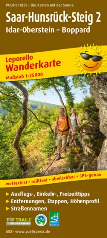 Saar-Hunsrück-Steig (2) 1:25.000 9783899206838  Publicpress Wandelkaarten - mit der Sonne  Meerdaagse wandelroutes, Wandelkaarten Saarland, Hunsrück