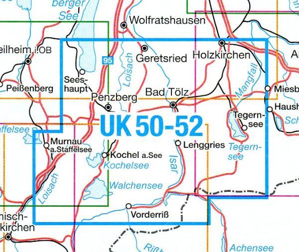 UK50-52   Bad Tölz - Lenggries 9783899332865  LVA Bayern UmgebungsKarte 1:50.000  Wandelkaarten Beierse Alpen