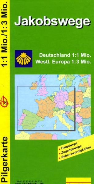 Jakobswege Übersichtskarte 9783936184730  GeoMap   Santiago de Compostela, Wandelkaarten Europa