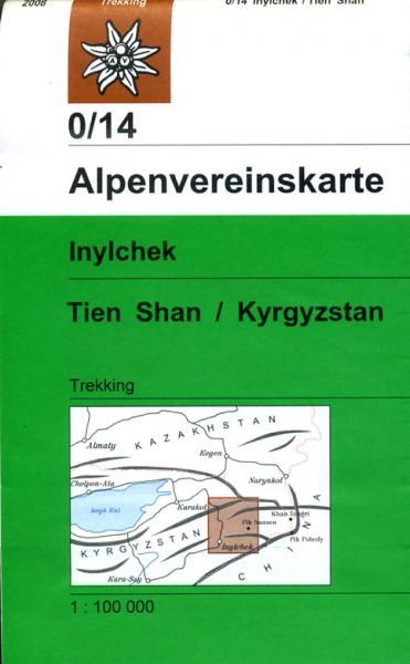 AV-0/14  Inylchek, Tien Shan - West  Alpenvereinskarte wandelkaart 9783937530024  AlpenVerein Alpenvereinskarten  Wandelkaarten Centraal-Aziatische republieken (Kazachstan, Uzbekistan, Turkmenistan, Kyrgysztan, Tadjikistan)