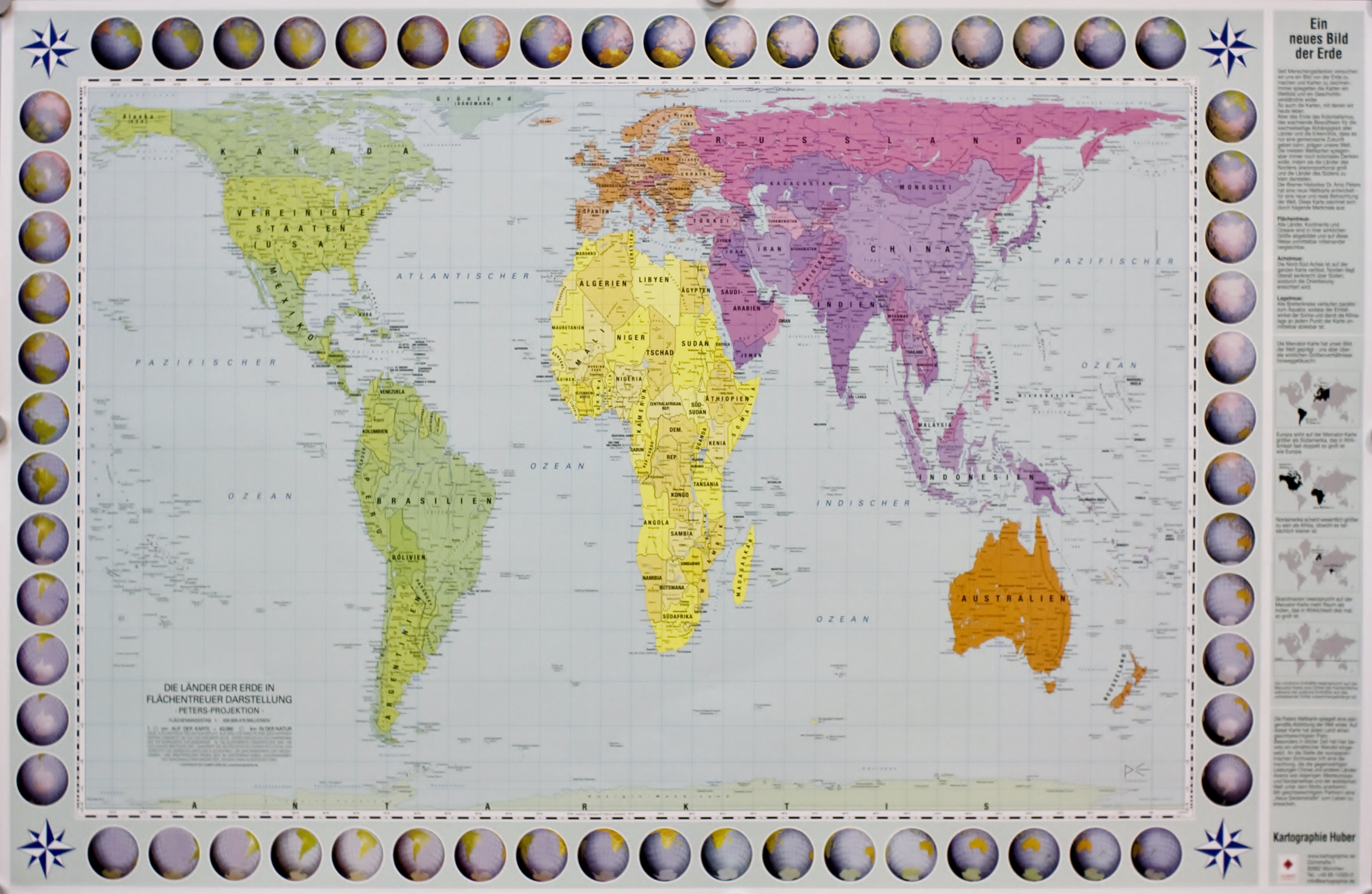 Wereldkaart / Peters Projectie 9783940686206  Huber Verlag   Wandkaarten Wereld als geheel