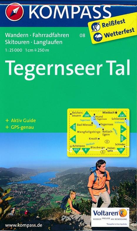 KP-08 Tegernseer Tal   Kompass wandelkaart 9783990440728  Kompass Wandelkaarten Kompass Duitsland  Wandelkaarten Beierse Alpen