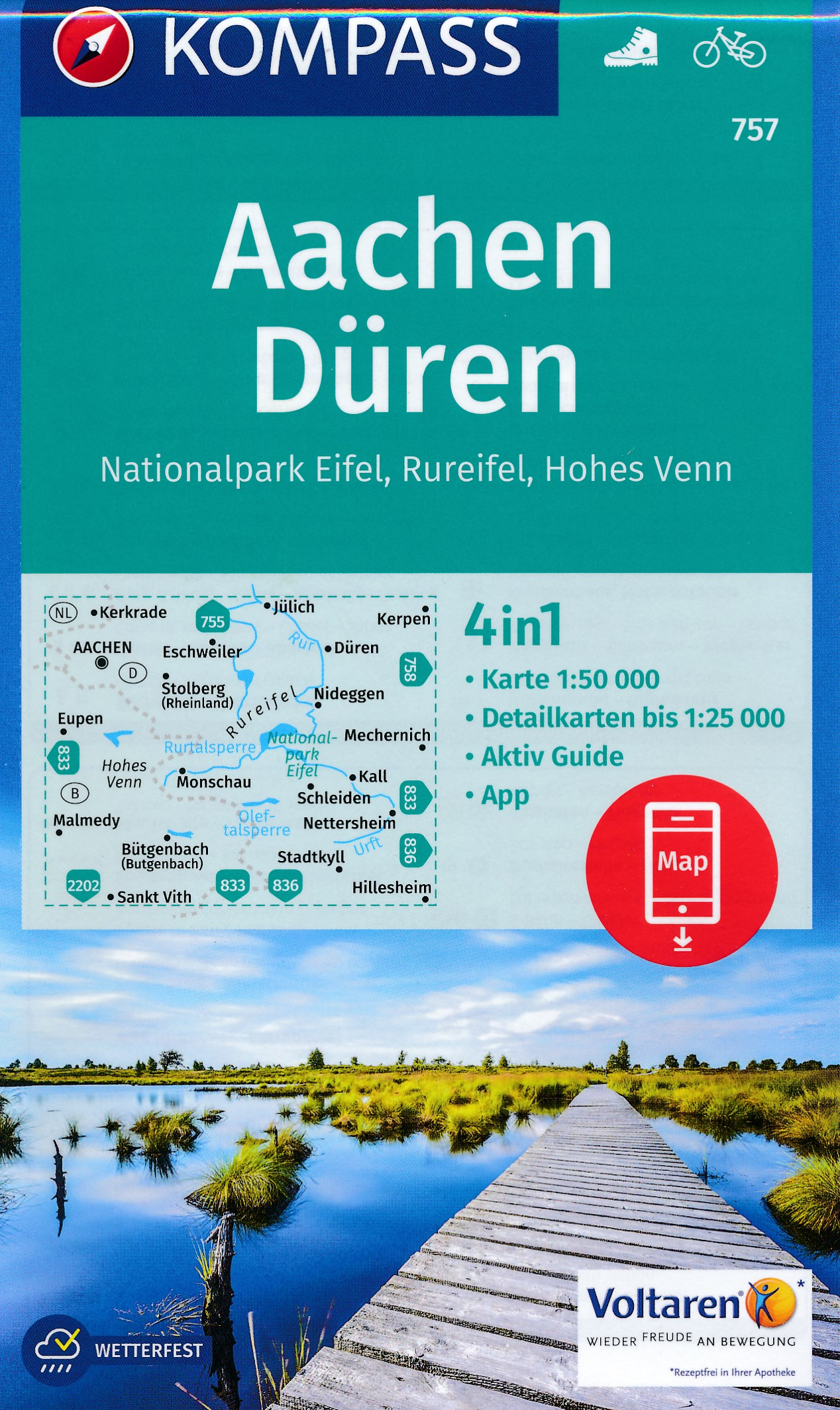 KP-757 Aachen Drielandenpunt | Kompass wandelkaart 9783990442722  Kompass Wandelkaarten Kompass Duitsland  Wandelkaarten Aken, Keulen en Bonn