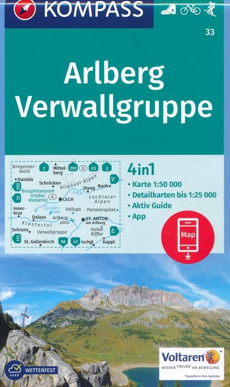 KP-33 Arlberg, Nördliche Verwallgruppe   Kompass wandelkaart 9783990443118  Kompass Wandelkaarten Kompass Oostenrijk  Wandelkaarten Tirol & Vorarlberg