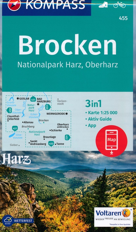 KP-455 Rund um den Brocken - Nationalpark Harz | Kompass wandelkaart 9783990443149  Kompass Wandelkaarten Kompass Duitsland  Wandelkaarten Harz