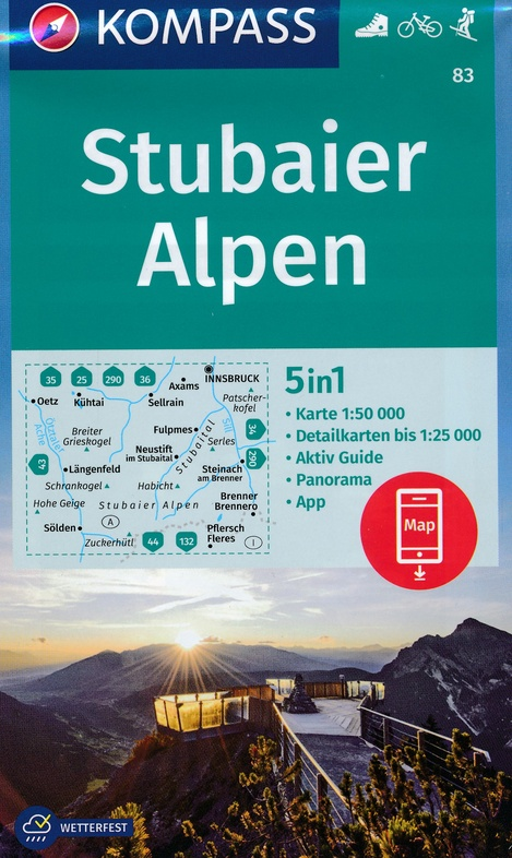 KP-83  Stubaier Alpen - Serleskamm   Kompass 9783990444276  Kompass Wandelkaarten Kompass Oostenrijk  Wandelkaarten Tirol & Vorarlberg