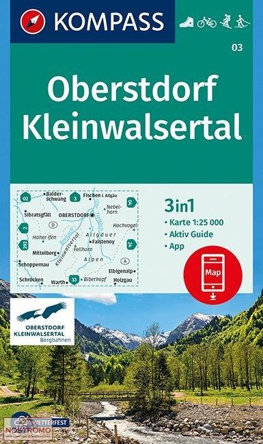 KP-03  Oberstdorf-Kleinwalsertal | Kompass wandelkaart 9783990444719  Kompass Wandelkaarten Kompass Duitsland  Wandelkaarten Beierse Alpen