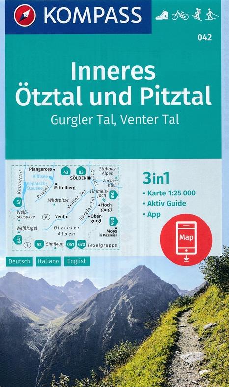 KP-042 Inneres Ötztal/ Pitztal/ Kaunertal | Kompass wandelkaart 9783990444818  Kompass Wandelkaarten Kompass Oostenrijk  Wandelkaarten Tirol & Vorarlberg
