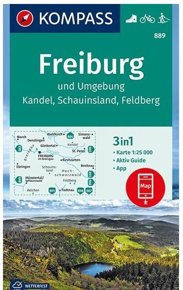 KP-889 Freiburg und Umgebung | Kompass wandelkaart 1:25.000 9783990445419  Kompass Wandelkaarten Kompass Duitsland  Wandelkaarten Zwarte Woud