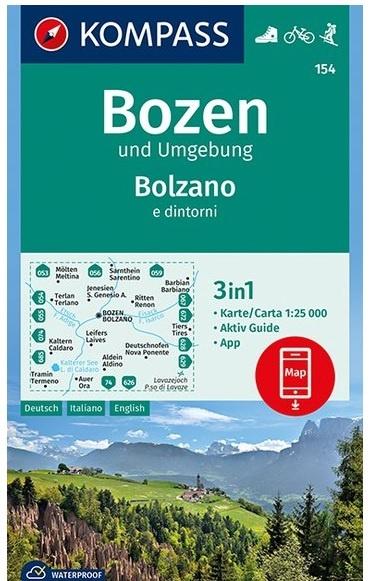 KP-154 Bozen / Bolzano | Kompass wandelkaart 1:25.000 9783990445549  Kompass Wandelkaarten Kompass Italië  Wandelkaarten Zuidtirol, Dolomieten, Friuli, Venetië, Emilia-Romagna