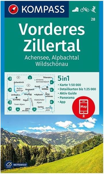 KP-28 Vorderes Zillertal | Kompass wandelkaart 9783990445556  Kompass Wandelkaarten Kompass Oostenrijk  Wandelkaarten Tirol & Vorarlberg