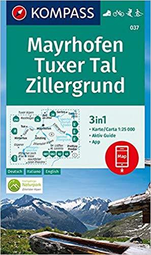 KP-037  Mayrhofen,Tuxer Tal, Zillergrund | Kompass wandelkaart 9783990445563  Kompass Wandelkaarten Kompass Oostenrijk  Wandelkaarten Tirol & Vorarlberg