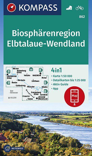 KP-862  Elbufer, Drawehn 1:50.000   Kompass 9783990446157  Kompass Wandelkaarten Kompass Duitsland  Wandelkaarten Lüneburger Heide, Elbufer
